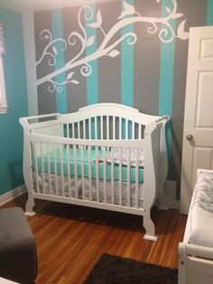 Baby V's nursery! Turquoise and Grey