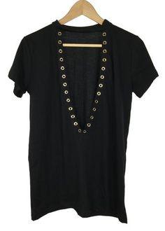 vintage deep V-neck tee (black)