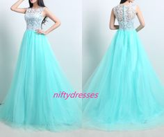 Tulle Sky Blue Prom Dress,A-Line Prom Dresses,Floor Length Evening Dresses,Cap Sleeve Homecoming Dresses,Hign Neck Evening Gowns,Lace Prom Gown