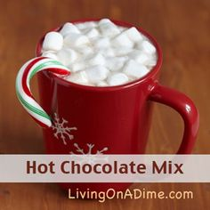 """Our family's favorite! Looking for an easy and inexpensive hot chocolate mix? You can make this hot chocolate mix in less than 5 minutes. Click here to get this yummy #recipe """"add the website URL""""."""