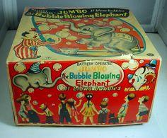 VINTAGE JUMBO THE BUBBLE BLOWING ELEPHANT IN ORIGINAL BOX TIN LITHO JAPAN