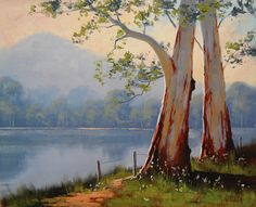 Lake Gum Trees, by Graham Gercken, (Australia) Lake Painting, Oil Painting On Canvas, Watercolor Paintings, Canvas Art, Landscape Art, Landscape Paintings, Tree Paintings, Graham Gercken, Fine Art Amerika
