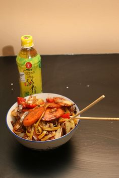 Todays dinner: Stir fried egg noodles with beef, carrot, paprica and onions in a black bean chili sauce