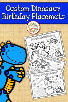 Your child will love these custom birthday placemats and activities with dinousaurs.  The pages are 8.5X11 size.  8 pages total!  1. Personalized birthday placemat with number and birthday coloring activities. 2. Personalized birthday placemat with seat reservation space to write each guest's name