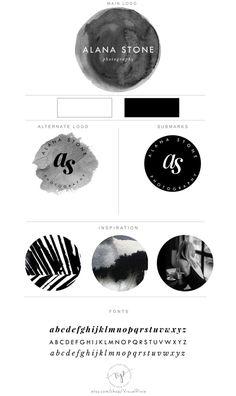 Branding Package Black Watercolor Minimalist Logo  by VisualPixie