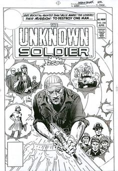 Unknown Soldier Joe Kubert, Unknown Soldier, War Comics, Cover Art, Rock, Black And White, Ea, Black N White, Skirt