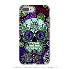 Purple Paisley Sugar Skull - Artistic iPhone 7 PLUS Tough Case - Dual Layer Protection - Sugar Skull Sombrero Night