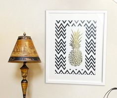 Pineapple Chevron Foil Prints - Gold Foil Art - Real Gold Foil  - Floral Wall Frames - Framed Print - White Frame - Rose Gold - Silver