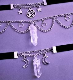 In love with these chokers ☽ ☾ /shop/OfStarsAndWine ☽ ☾ pastel goth nu goth jewelryY. Goth Jewelry, Fantasy Jewelry, Jewelery, Pagan Jewelry, Gothic Jewellery, Grunge Jewelry, Hipster Grunge, Soft Grunge, Grunge Style