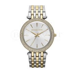 Michael Kors Darci Two Tone Stainless Steel Glitz 3 Hand Bracelet Watch Hand Bracelet, Bracelet Watch, Stainless Steel Watch, Stainless Steel Bracelet, Color Plata, Michael Kors Watch, Gold Watch, Lady, Jewelry Watches