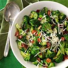 Broccoli with Garlic, Bacon and Parmesan - I stir fry or roast the broccoli for a nuttier flavor and crisp-tender texture.
