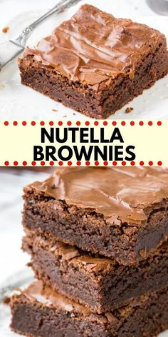 These easy Nutella Brownies are fudgy, gooey and perfectly chocolate-y. They have a delicious chocolate hazelnut flavor that isn't too rich, and a gooey texture with crinkly brownie tops. The best ever Nutella brownie recipe! recipe for 2 Nutella Brownies Chocolate Cookie Recipes, Easy Cookie Recipes, Brownie Recipes, Chocolate Chip Cookies, Baking Recipes, Sweet Recipes, Cake Recipes, Dessert Recipes, Paleo Fudge