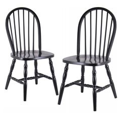 Winsome Windsor Chairs with Carved Leg - 2 Chair Set Black - 29237