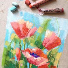 Poppies. Или просто маки. Пастель, пастельная бумага. #маки #poppies #pastel #пастель