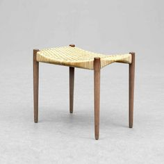 Ejnar larsen and Aksel Bender Madsen; Walnut and Rattan Stool for Willy Beck, 1960s.