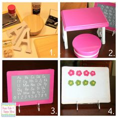 How to make an American Girl doll desk, using the 'A's' for the sides? Genius. 'M', 'w', 'h'....lots of other letters would work, too.    americangirlcollage.jpg 1,024×1,024 pixels