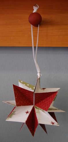 Tutorial for a Paper Ornament - [a lovely idea for old Christmas cards!]