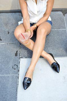 coffee and black patent loafers via @mystylevita [My Style Vita]  @solesociety @jcrew @everlane