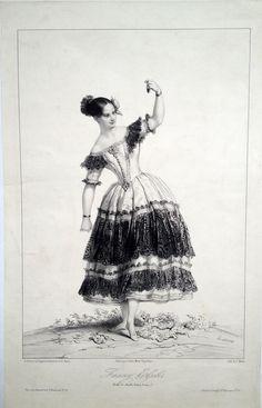 """Fanny ELSSLER (1810-1884) dans le 3ème acte du ballet du """"Diable Boiteux"""" - Lithographie par Charles MOTTE (1785-1836) d'après un dessin de Achille DEVERIA (1800-1857)"""