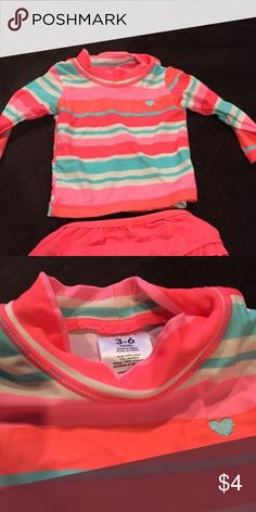 Carters rash guard bathing suit set 3-6 mo Carters Rash Guard Bathing suit 3-6 months, never worn, but washed once after initial purchase Carters Dresses