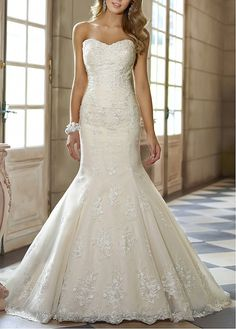 $249 Gorgeous Tulle  Satin With Lace Appliques Mermaid Sweetheart Floor Length Wedding Gown