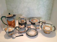 Noritake Art Deco Geometric Lusterware Coffee Tea Set