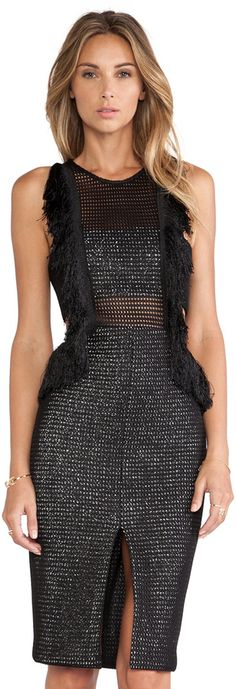 self-portrait Fringed Formation Dress
