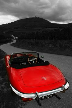 A Jaguar E-Type convertible, in this red with a manual gearbox and the litre Tata Motors, Sidecar, Classic Sports Cars, Classic Cars, Classic Motors, Convertible, Automobile, Xjr, Jaguar E Type