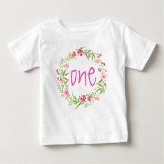 #floral - #1st Birthday Baby Girl Watercolor Floral Wreath Baby T-Shirt