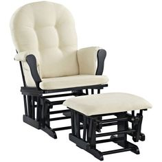 Best Glider Chairs Cedar Adirondack 314 Images In 2019 Angel Line Windsor And Ottoman Black Finish Beige Cushions Walmart Com