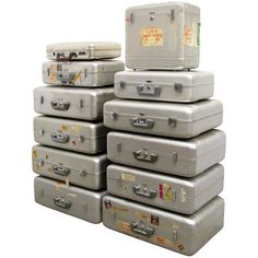 Collection of Vintage Zero Halliburton Aluminium Luggage   From a unique collection of antique and modern trunks and luggage at https://www.1stdibs.com/furniture/more-furniture-collectibles/trunks-luggage/