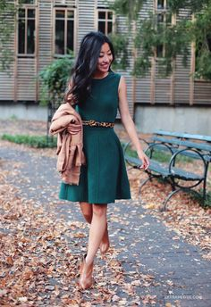 A-line sweater dress for work or weekend outfits. Love the combo of hunter green + camel for fall.
