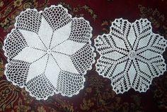 Doily hand made filet lace pair cotton set by RenaissanceProfessor, $12.90