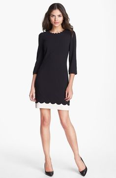 Ted Baker London Scalloped Stretch Shift Dress available at #Nordstrom