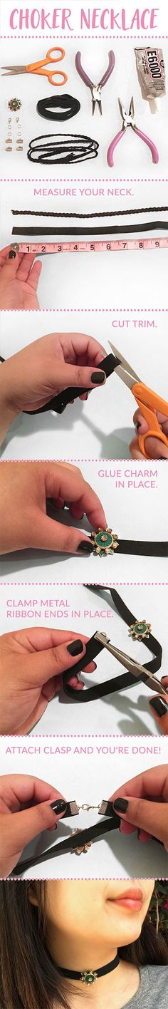 while choker necklaces are in again right now, they'll most likely go out of style fairly quickly. So instead of spending tons of money to get in on the trend before it disappears, you can actually make your own! Follow along with these helpful (and super easy) guides and you'll be just like LJ in no time at all!
