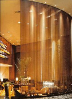 Decorative metal mesh used for space dividers or partitions Metal Room Divider, Room Divider Curtain, Steel Curtain, Decorative Room Dividers, Decorative Metal, Metal Mesh Screen, Space Dividers, Hotel Lounge, Wall Exterior