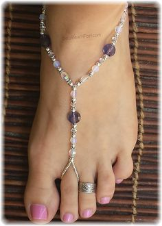 Violet Beautiful inspiring artisan hand-crafted yoga & spiritual barefoot sandals and barefoot jewelry.Beautiful inspiring artisan hand-crafted yoga & spiritual barefoot sandals and barefoot jewelry. Crochet Sandals, Beaded Sandals, Beaded Anklets, Diy Barefoot Sandals, Bare Foot Sandals, Yoga Sandals, Ankle Jewelry, Ankle Bracelets, Feet Jewelry
