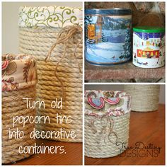 Turn Old Popcorn Tins into Stylish Lined Baskets Tin Can Crafts, Cute Crafts, Diy And Crafts, Arts And Crafts, Recycled Crafts, Diy Projects To Try, Craft Projects, Craft Ideas, Diy Ideas