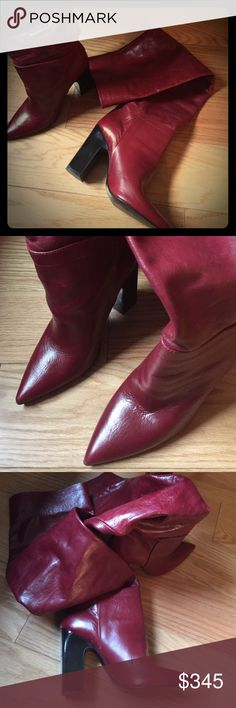 🍃🌺 My Sweet Valentine ❤ Wine red genuine leather long boots ... so sexy, chic .. Brand new, Studio Zara 🍃🌺 Zara Shoes Heeled Boots