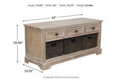Oslember Storage Bench | Ashley Furniture HomeStore Bench Furniture, How To Clean Furniture, Fine Furniture, Quality Furniture, Metal Drawers, At Home Store, Signature Design, Engineered Wood, Mudroom