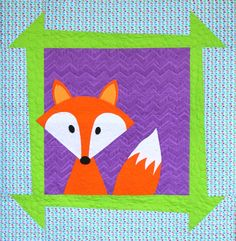 Zoey's Zoo is a fun and quick appliqué pattern you can personalize for the newest baby in your life! With 4 different animals to choose from (A lion, bear, fox and penguin) you can find the perfect match in personality. The quilts finish x Applique Quilt Patterns, Paper Piecing Patterns, Pdf Patterns, Mini Quilts, Baby Quilts, Quilting Projects, Sewing Projects, Sewing Ideas, Fox Quilt