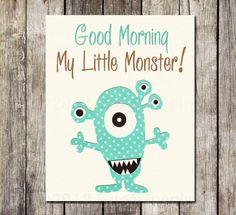 Soo cute!! Monster Nursery Art Print,  8x10, Baby / Children Wall Art - Turquoise, Brown , baby boy room, My little monster on Etsy, $14.95