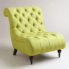 Green Tufted Devon Slipper Chair - contemporary - chairs - by World Market . I want this chair so bad! Green Accent Chair, Accent Chairs, Upholstered Furniture, Home Furniture, Furniture Ideas, Paint Furniture, Love Chair, Contemporary Chairs, Woman Cave