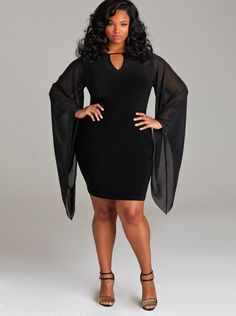 """Simone"" Chiffon Sleeve Party Dress - Black - What's New - Monif C"