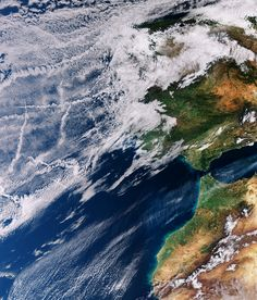 The Copernicus Sentinel-3A satellite takes us over the Atlantic Ocean close to Spain and Portugal where the sky not only features clouds but also criss-cross tracks from maritime vessels. Photo: ESA (www.esa.int)