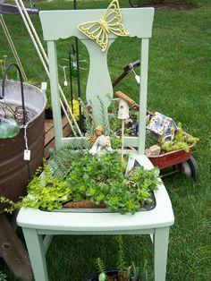 Turn an old chair into a fairy garden
