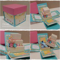 Cake box explosion card. Order your custom handmade card at www.ericraft.com.au or go to www.facebook.com/Ericraft