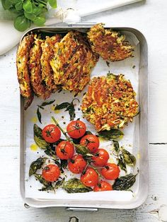 zucchini and haloumi fritters with roasted tomatoes from donna hay fresh + light issue (recipes with egg dinner) Donna Hay Recipes, Cooking Recipes, Healthy Recipes, Halumi Cheese Recipes, Curry Recipes, Kebabs, Roasted Tomatoes, Vegetable Dishes, Salads