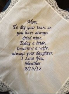 From the bride to the mom
