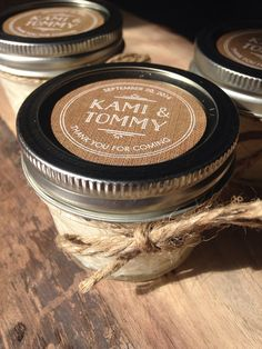 Rustic Wedding Favor Soy Candle Baby Shower Bridal Fav Personalized